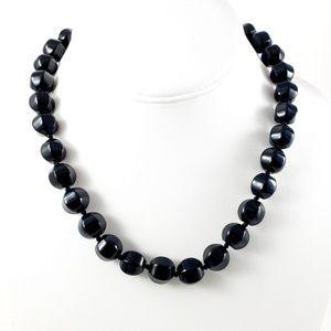 J. Crew Black Glass Bead Necklace Vintage-Inspired